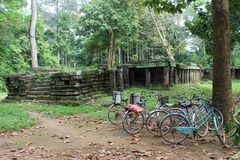 Bicycles near a temple ruin at Angkor Wat, Cambodia. Bicycles parked near an ancient temple ruin at Angkor Wat, Cambodia Royalty Free Stock Photography