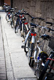 Bicycles near the wall Royalty Free Stock Images