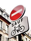 Bicycles Only. No Entry except bicycles sign in French Stock Photos