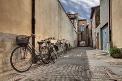 Bicycles in the old alley Stock Image
