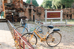 Bicycles in old city of Ayutthaya Stock Photography