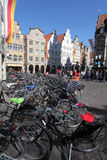 Bicycles in old town of Munster Stock Images