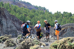 Bicycles On The Top Of Volcano Stock Image
