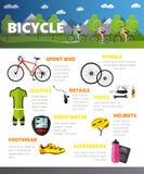 Bicycles os acessórios isolados no fundo branco Ilustração do conceito do vetor do esporte no estilo liso ilustração do vetor