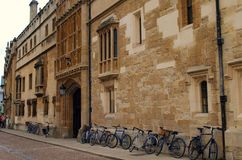 Bicycles outside Oxford college. England Royalty Free Stock Image