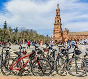 Bicycles park in the Spanish Plaza, Seville stock images