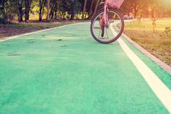 Bicycles park on the street Royalty Free Stock Images
