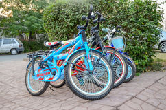 Bicycles in a Park. Bicycles in Park 7th May 2017 Lahore-Pakistan Stock Photo