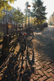 Bicycles parked along the canal in Utrecht Royalty Free Stock Photography