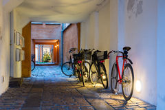 Bicycles. Parked in the arch Stock Photography