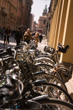 Bicycles parked in the center of Bologna Royalty Free Stock Image