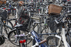 Bicycles parked at Central Station in Copenhagen. Stock Photo