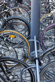 Bicycles parked at Central Station in Copenhagen. Stock Images