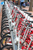 Bicycles parked in city Barcelona, Spain Stock Photo