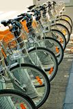 Bicycles parked in the city center. Brussels, Belgium Stock Image