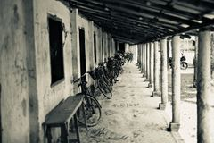Bicycles parked in front of school rooms. Unique royalty free image stock photo