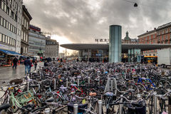 Bicycles parked at a Metro staion in Copenhagen Royalty Free Stock Image