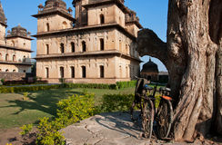 Bicycles parked near the beautiful historical sites Stock Photos