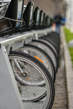 Bicycles parked in one row. Many bicycles lined up in a parking lot Royalty Free Stock Images