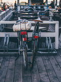 Bicycles parked outside cafe Stock Image