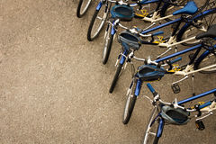 Bicycles Parked in a Row Stock Images