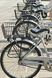 Bicycles Parked In Row. City Hire Bicycles Parked In Row Royalty Free Stock Photography