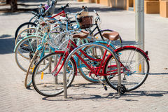 Bicycles parked in a row Royalty Free Stock Photos