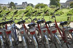 Bicycles parked in the street.  royalty free stock images