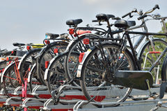 Bicycles parked on street Royalty Free Stock Images
