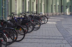 Bicycles parked on the street Stock Photo