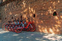 Bicycles parked at Thapae Gate of Chiang Mai. royalty free stock images