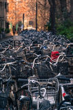 Bicycles parked in Tokyo. Many bicycles parked in a street in Tokyo waiting for their owner's return Stock Photo