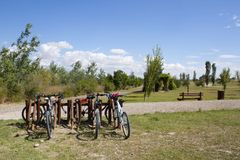 Bicycles parked in a wooden parking Royalty Free Stock Photography