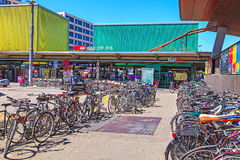 Bicycles parked at the Zurich main railway station Stock Photos