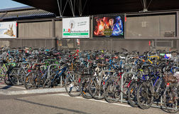 Bicycles parked at the Zurich Main railway station Royalty Free Stock Photos