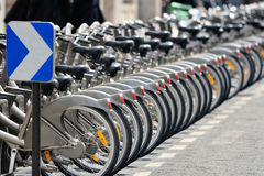 Bicycles on parking Stock Photo