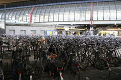 Bicycles Parking. The bicycle parking at the RAI underground station in Amsterdam Stock Photos