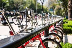 Bicycles on the parking. Bicycles on the city parking Stock Image