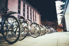 Bicycles on parking in European city Stock Photography
