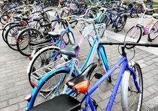 Bicycles parking beside the library Stock Images