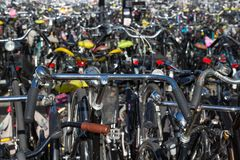 Bicycles parking in the Netherlands Royalty Free Stock Photo