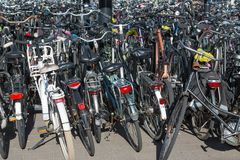 Bicycles parking in the Netherlands Stock Photos