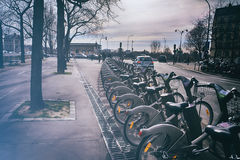 Bicycles parking in Paris Stock Photography