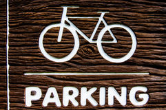 Bicycles parking symbols and sign Stock Images