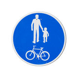 Bicycles And Pedestrians Only. Blue round road sign Royalty Free Stock Photos
