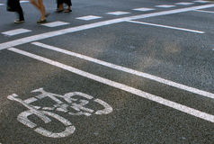 Bicycles and pedestrians lanes Royalty Free Stock Photos