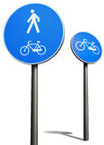 Bicycles and pedestrians road sign. On pole isolated over white Stock Photography