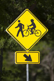 Bicycles and Pedestrians Road Sign Royalty Free Stock Images