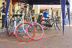 Bicycles and people on the  street  in Dordrecht, Netherlands Royalty Free Stock Images