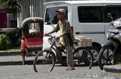 Bicycles. People use bicycles for transportation in the city of Solo, Central Java, Indonesia Stock Image